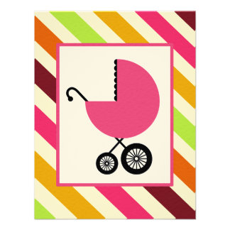 Girl Baby Shower - Pink Carriage Stripes Personalized Invitations
