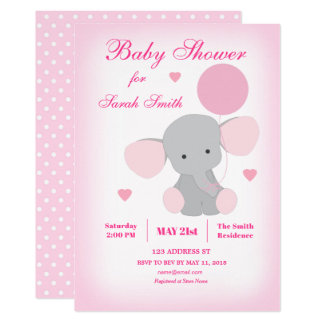 Girl Baby Shower Pink Elephant Invitation