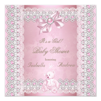 Girl Baby Shower Pink Pearl Bow Lace Damask 13 Cm X 13 Cm Square Invitation Card
