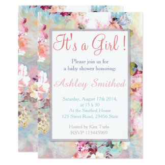 Girl Baby Shower Pink Teal Watercolor Chic Floral Card
