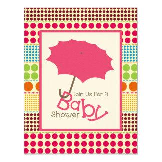 Girl Baby Shower - Pink Umbrella & Boho Dots 11 Cm X 14 Cm Invitation Card