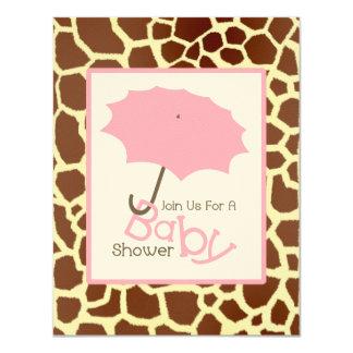 Girl Baby Shower - Pink Umbrella & Giraffe Print 4.25x5.5 Paper Invitation Card