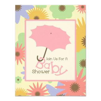 Girl Baby Shower - Pink Umbrella & Pastel Flowers 11 Cm X 14 Cm Invitation Card