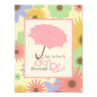 "Girl Baby Shower - Pink Umbrella & Pastel Flowers 4.25"" X 5.5"" Invitation Card"