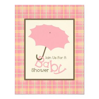 Girl Baby Shower - Pink Umbrella & Plaid 11 Cm X 14 Cm Invitation Card