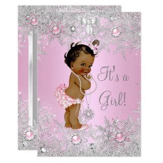 Girl Baby Shower Pink Winter WonderLand Ethnic Card