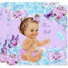 Girl Baby Shower Teal Purple Butterfly Brunette Card