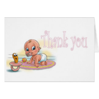 Girl Baby Shower - Thank you Card