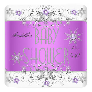 Girl Baby Shower Winter Wonderland Purple White Card