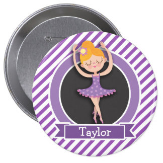 Girl Ballet Dancer; Ballerina; Purple & White Button