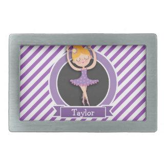 Girl Ballet Dancer; Ballerina; Purple & White Rectangular Belt Buckle
