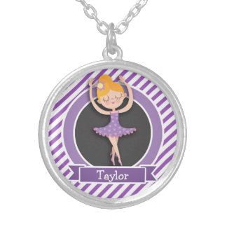 Girl Ballet Dancer; Ballerina; Purple & White Personalized Necklace