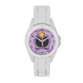 Girl Ballet Dancer; Ballerina; Purple & White Wrist Watches