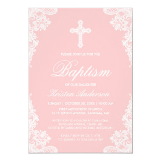 Girl Baptism Elegant Blush Pink White Lace Photo Card