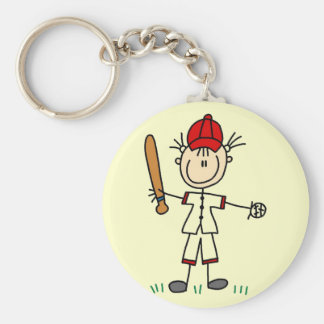 Girl Baseball Player Tshirts and Gifts Basic Round Button Key Ring