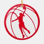 Girl Basketball Silhouette Shooting Christmas Tree Ornament