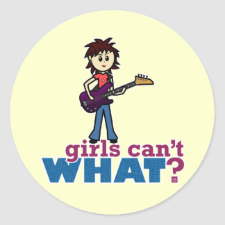 Girl Bass Guitar Player Classic Round Sticker