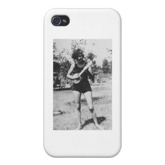 Girl bathing suit beauty playing banjo 1920's iPhone 4/4S cover