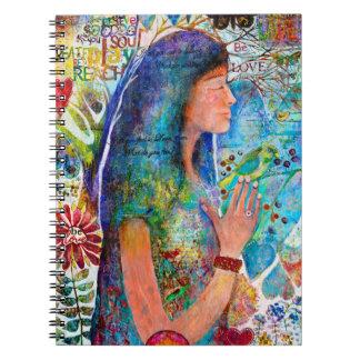Girl Be Love Flowers Rainbow Art Spiral Notebook