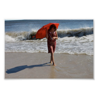 Girl Beach Umbrella Photography Poster