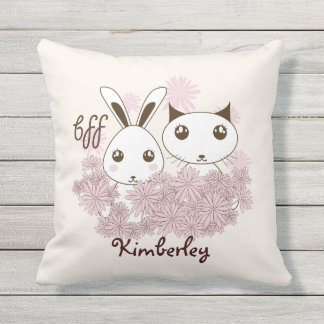 Girl Best Friends Cute Animal Personalized Kids Throw Pillow