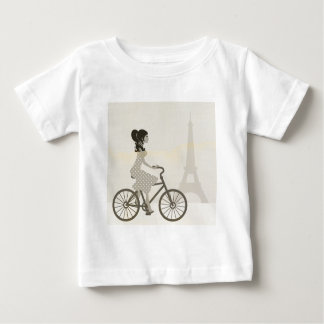 Girl Bicycle in Paris, Woman Cycling eiffel tower Baby T-Shirt
