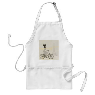 Girl Bicycle in Paris, Woman Cycling eiffel tower Standard Apron