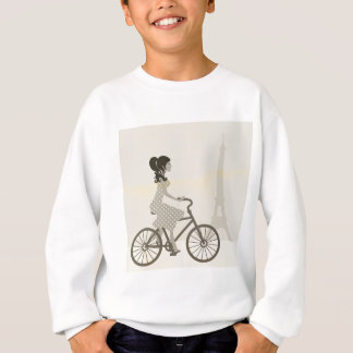 Girl Bicycle in Paris, Woman Cycling eiffel tower Sweatshirt