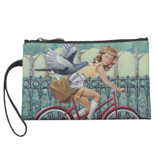 Girl & Bicycle Sueded Mini Clutch Wristlet