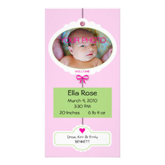 Girl Birth Announcement Mobile Personalised Photo Card