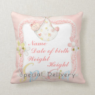 Girl birth announcement pillow