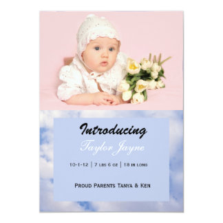 Girl Birth Announcement with Pink & Blue Clouds