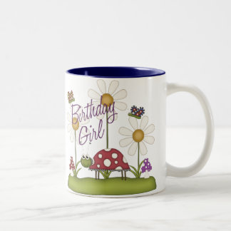 Girl Birthday Bugs Two-Tone Coffee Mug