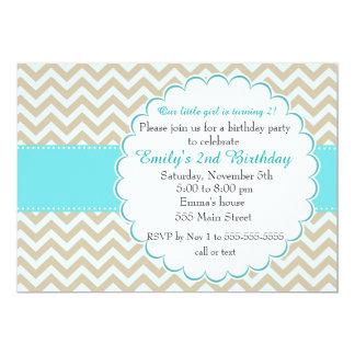 Girl Birthday Invitation Teal Gold Chevron
