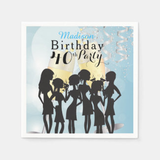 Girl Birthday Party Celebration - Aqua Blue Paper Napkins