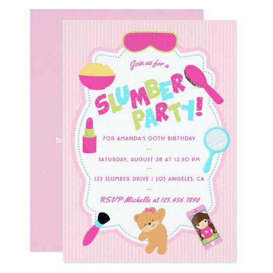 Girl Birthday Slumber Party Invitation