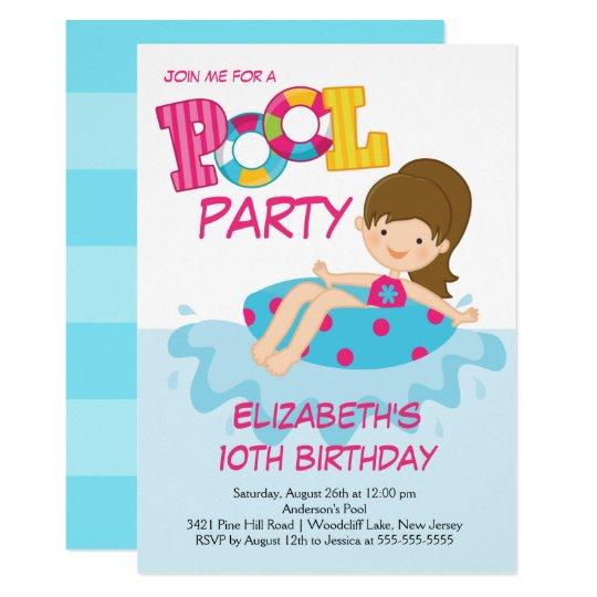 Girl Birthday Summer Pool Party Invitation Zazzle Com Au