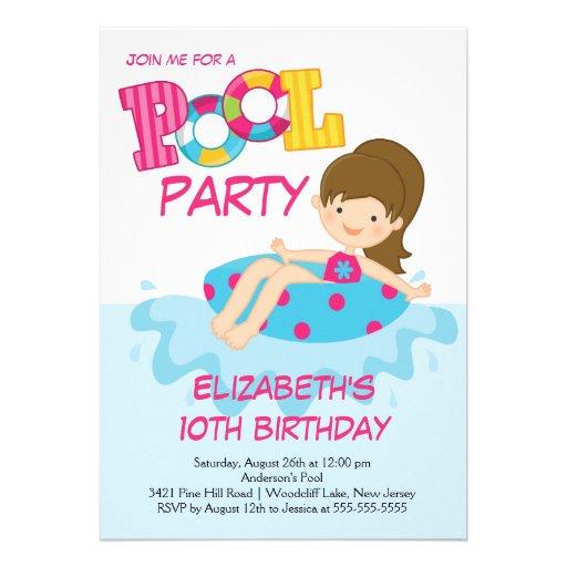 Girl Birthday Summer Pool Party Invitation 13 Cm X 18 Cm