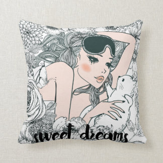 Girl black and white illustration Throw Pillow