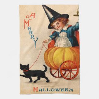 Girl & Black Cat Tea Towel