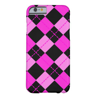 Girl Black & Pink Argyle Pattern Barely There iPhone 6 Case