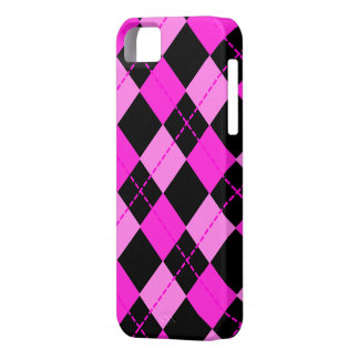 Girl Black &  Pink Argyle Pattern Case For The iPhone 5