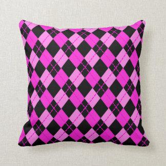 Girl Black &  Pink Argyle Pattern Cushion