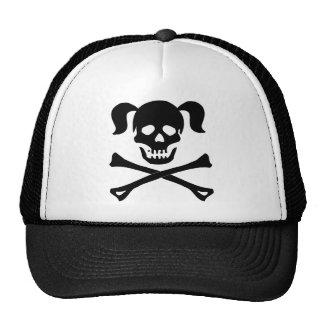 Girl Black Skull With Pig Tails Cap