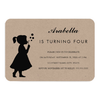 Girl blowing bubbles| Birthday Party Invitation