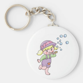 Girl Blowing Bubbles Key Ring