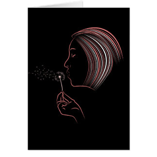 Girl Blowing Dandelion Greeting Card