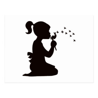 Girl Blowing on Dandelion silhouette Postcard