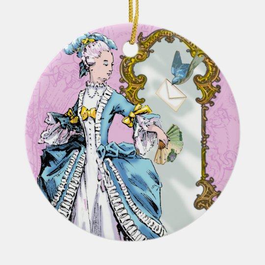 Girl & Bluebird Vintage Style Christmas Ornament