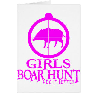 GIRL BOAR HUNTING CARD
